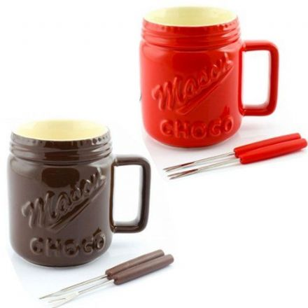 Hot Chocolate Ceramic Fondue Set ~ Red